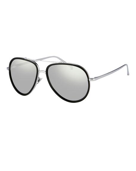 Linda Farrow Two-Tone Aviator Sunglasses, White Gold/Platinum