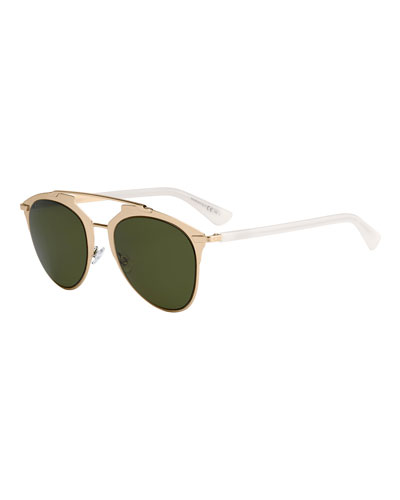 Reflected Monochromatic Metal Brow-Bar Sunglasses, Light Gold/White