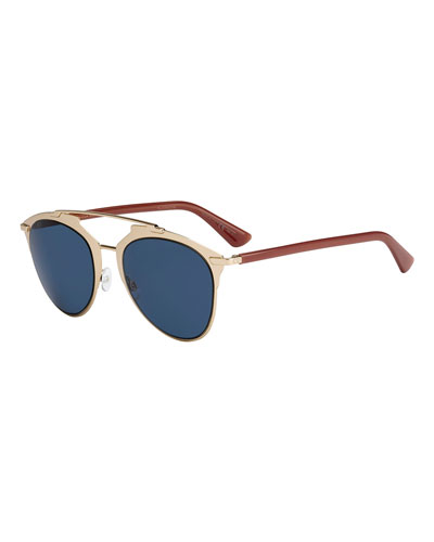 Reflected Monochromatic Metal Brow-Bar Sunglasses, Rose Gold/Brick