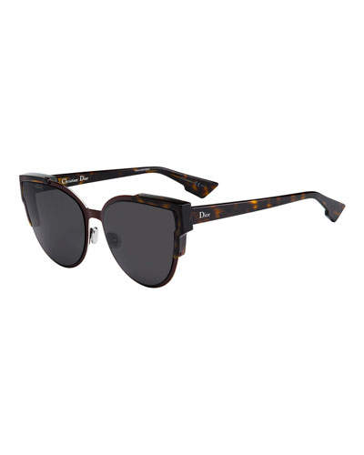 Wildly Dior Cat-Eye Sunglasses, Havana/Burgundy