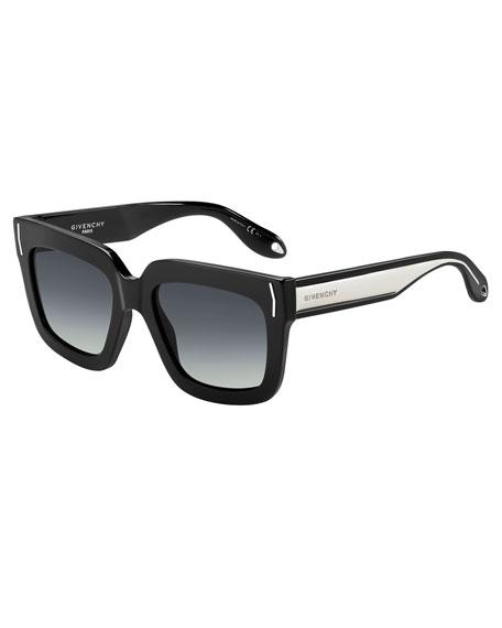Square Metal-Band Sunglasses, Black