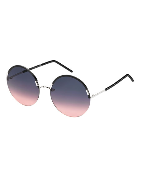 Marc Jacobs Interchangeable Round Sunglasses, Silver/Black