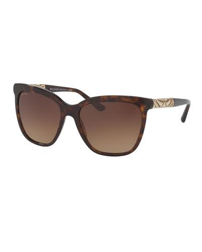 Square Metal-Temple Sunglasses, Dark Havana