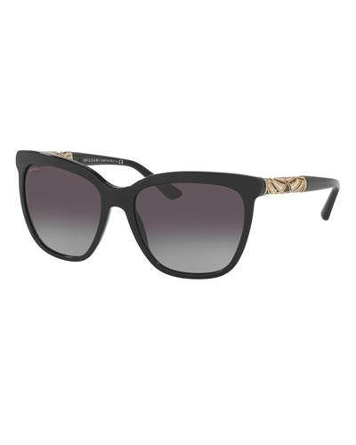 Square Metal-Temple Sunglasses, Black