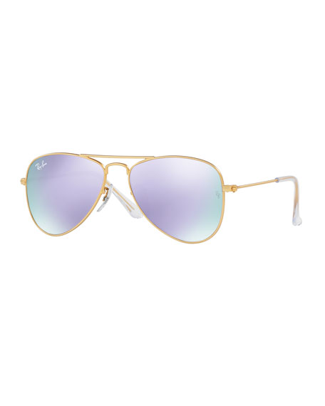 Iridescent Aviator Sunglasses, Gold/Lilac