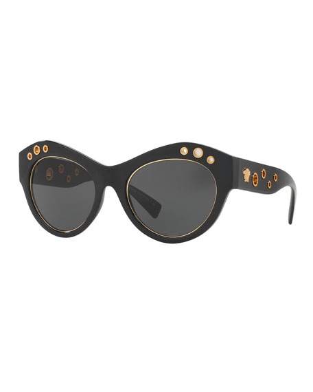 VERSACE ROCK ICONS BLACK CAT-EYE SUNGLASSES