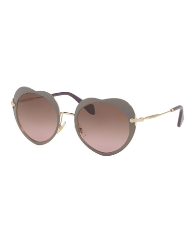 Gradient Heart Sunglasses, Beige