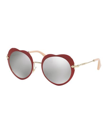 Mirrored Heart Sunglasses, Red