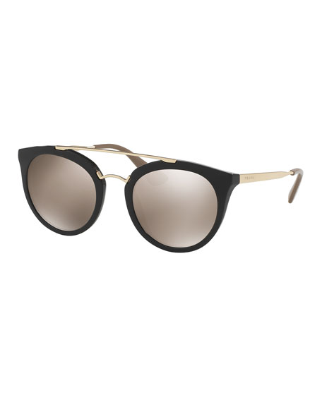 Prada Mirrored Cat-Eye Double-Bridge Sunglasses, Black/Gold