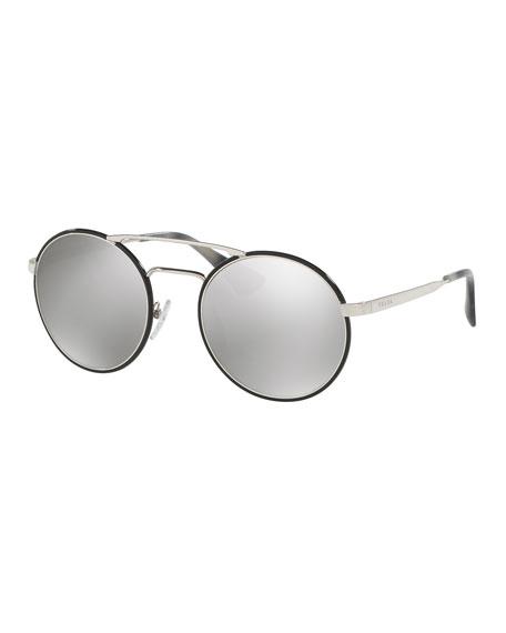 Trimmed Mirrored Round Sunglasses, Silver/Black