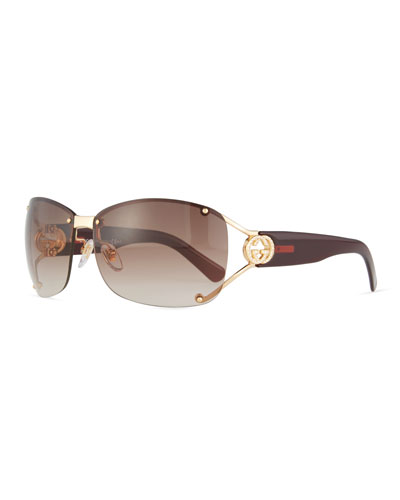 Rimless Gradient Square Sunglasses, Gold/Purple
