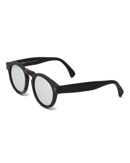Illesteva Leonard Round Mirrored Sunglasses, Black/Silver