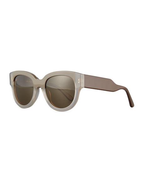 Marni Cromo Square Two-Tone Sunglasses, Light Brown/Brown