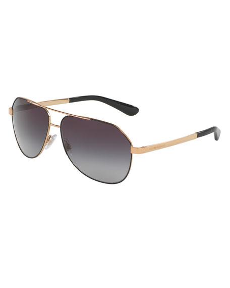 Dolce & Gabbana Gradient Metal Aviator Sunglasses, Black