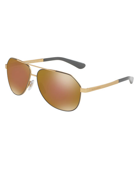 Dolce & Gabbana Iridescent Metal Aviator Sunglasses, Gray