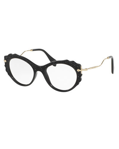 Embellished Butterfly Optical Frames, Black