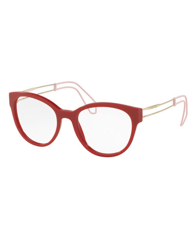 Open-Inset Rounded Cat-Eye Optical Frames, Red