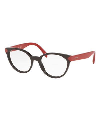 Two-Tone Cat-Eye Optical Frames, Dark Brown/Red