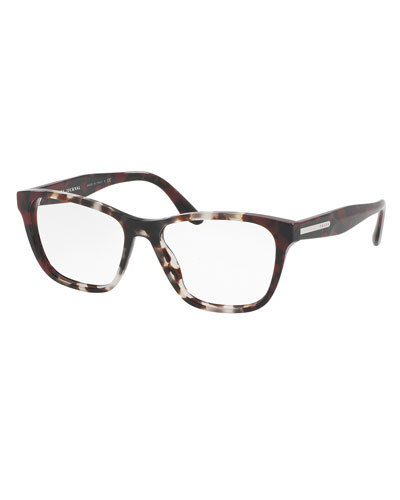 Square Two-Tone Optical Frames, Brown/Red