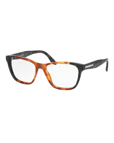 Square Two-Tone Optical Frames, Brown/Gray
