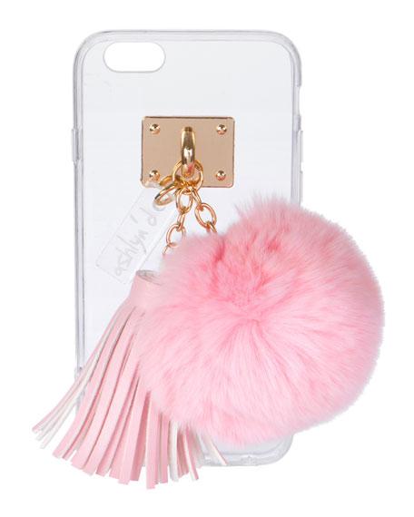 Transparent iPhone 6 Case w/ Fur Pompom, Light Pink