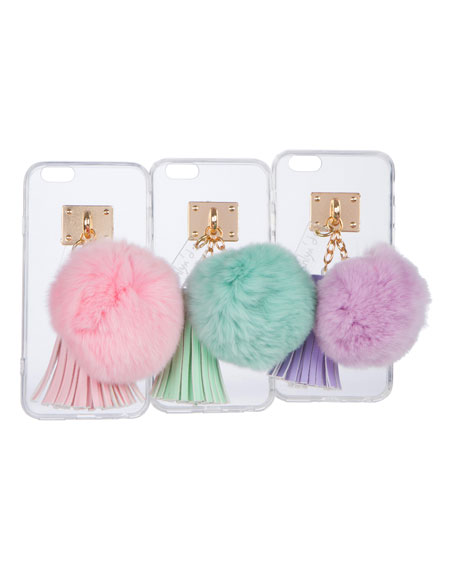 Transparent iPhone 6 Case w/ Fur Pompom, Aqua
