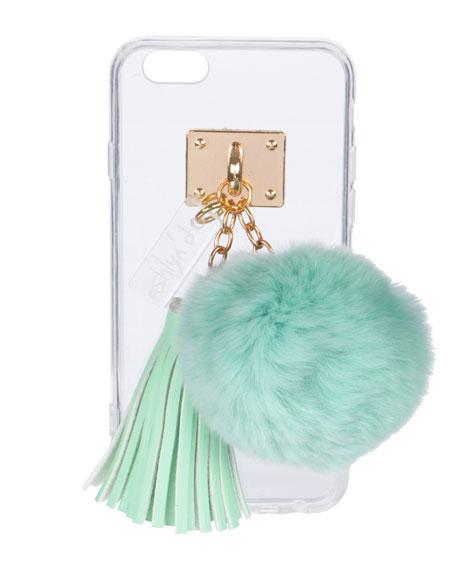 Transparent iPhone 6 Case w/ Fur Pompom, Aqua