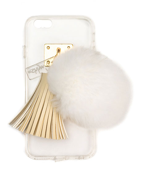 Transparent iPhone 6 Case w/ Fur Pompom, Ivory