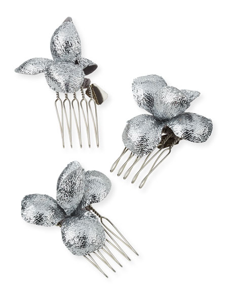 Alchemia Floral Hair Combs, Silver, Boxed Set of Three