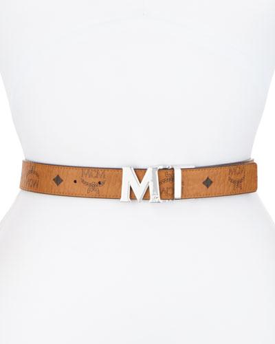 Reversible Logo Belt, Cognac/Black