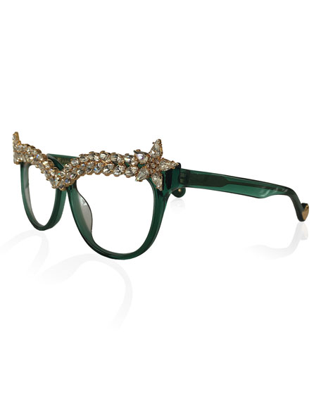 Anna-Karin Karlsson Decadent Ones Cat-Eye Optical Frames, Jade
