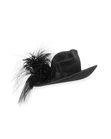 Velour Feather-Spray Side-Sweep Hat, Black