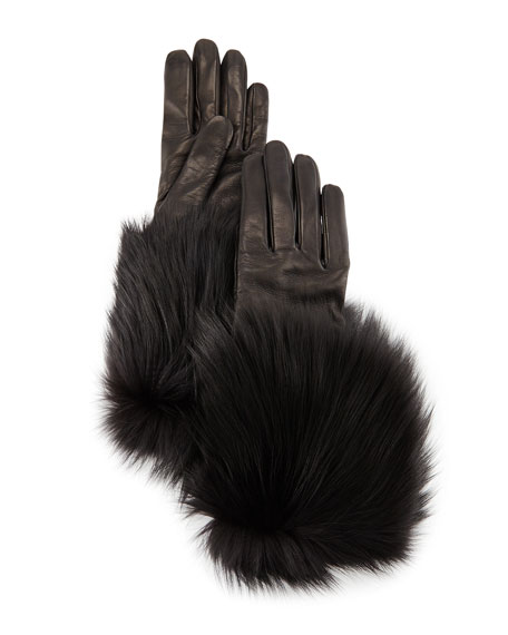 Napa Leather Gloves w/Fur Trim