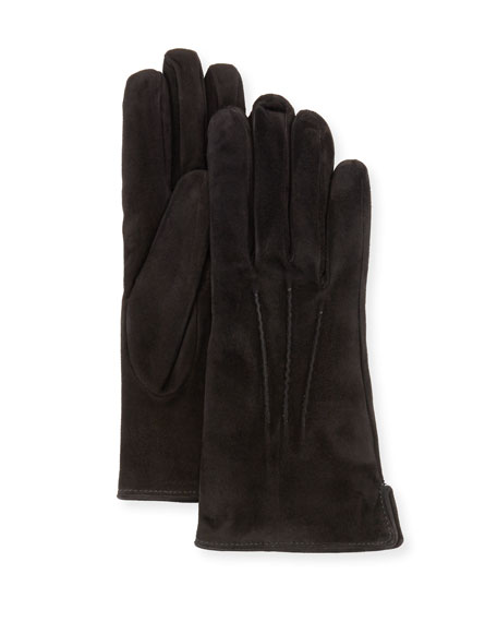 Cashmere-Lined Suede Gloves, Black