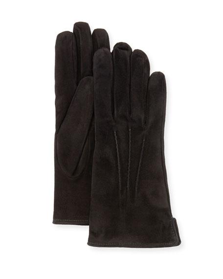 Mario Portolano Cashmere-Lined Suede Gloves, Black