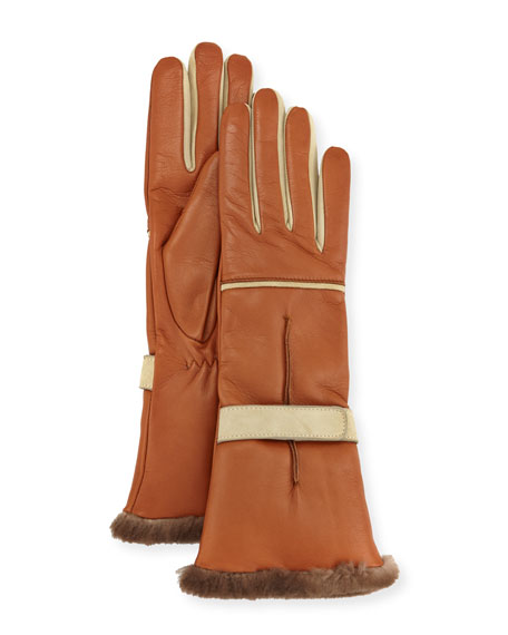 Mario Portolano Leather Fur-Trim Gloves, Brown