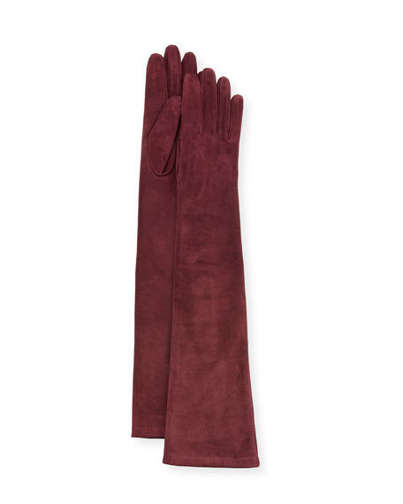 Long Suede Gloves, Wine