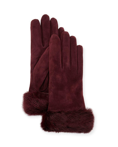 Suede Gloves w/ Fur Cuffs, Burgundy