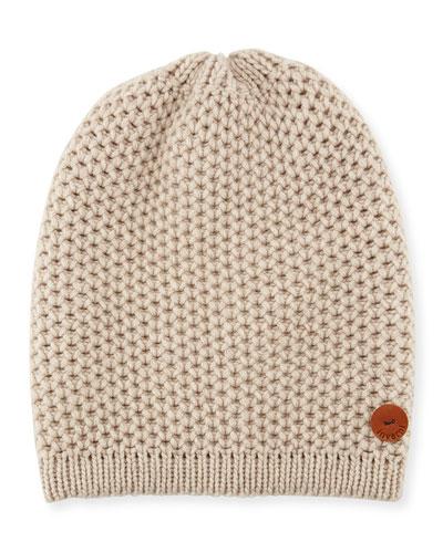 Cashmere Crochet Beanie Hat, Beige
