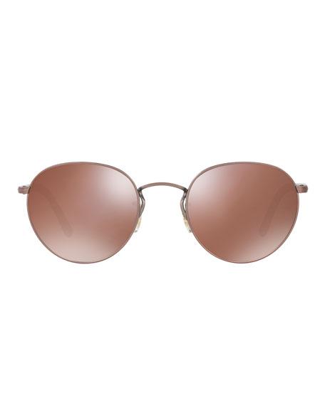Hassett Mirrored Round Sunglasses, Rose Gold
