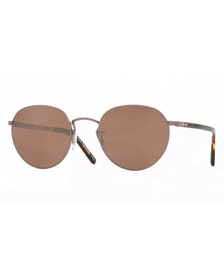 Oliver Peoples Hassett Mirrored Round Sunglasses, Rose Gold