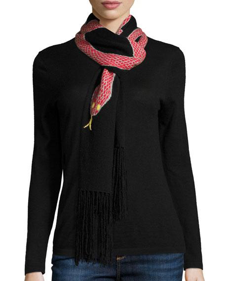 Snakes Wool-Blend Fringe Scarf, Red