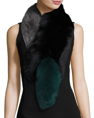 Popsicle Fox Fur Colorblock Scarf, Black/Green