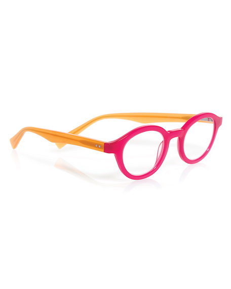 TV Party Round Two-Tone Readers, Pink/Orange
