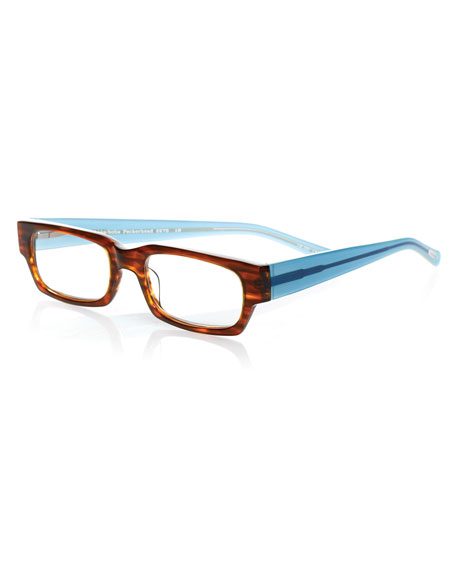 Eyebobs Peckerhead Rectangular Two-Tone Readers, Brown/Blue