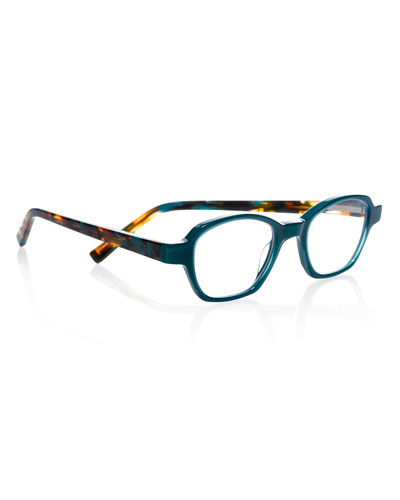 Haute Flash Square Two-Tone Readers, Blue/Tortoise