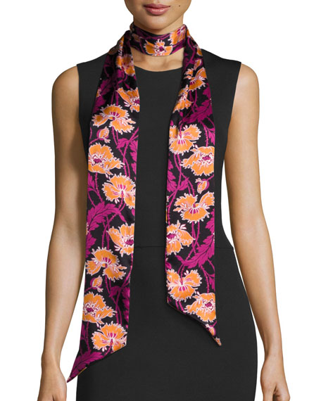 Liberty London Honesty Silk Satin Skinny Poppy Scarf,