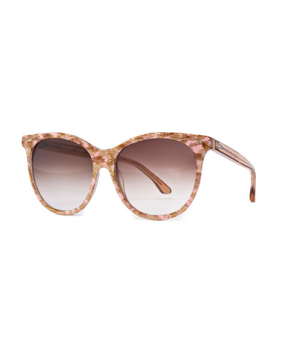 Screamy Streaked Cat-Eye Sunglasses, Pink
