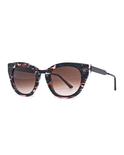 Snobby Cat-Eye Sunglasses, Purple/Brown