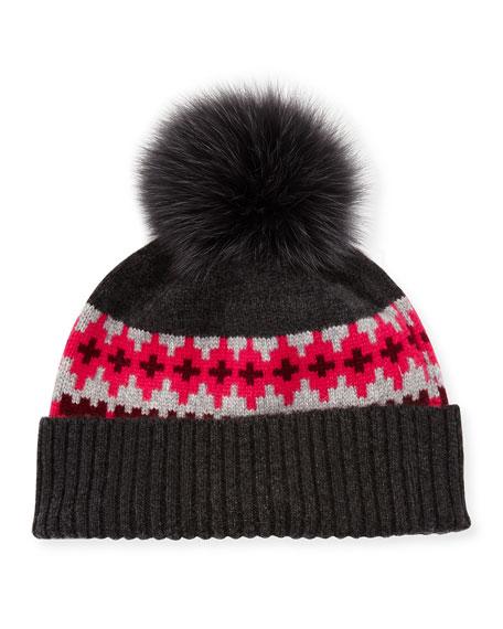 Sofia Cashmere Fair Isle Cashmere Fur-Pom Beanie Hat, Rose